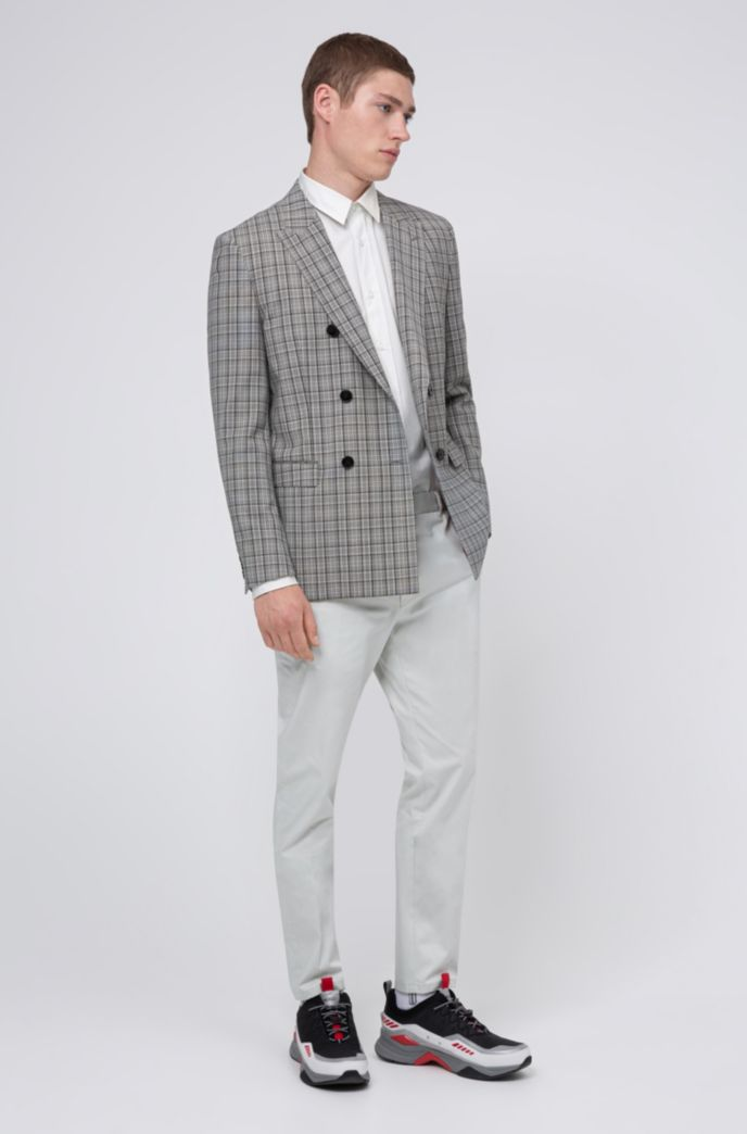Slim-fit double-breasted jacket in Glen-check virgin wool