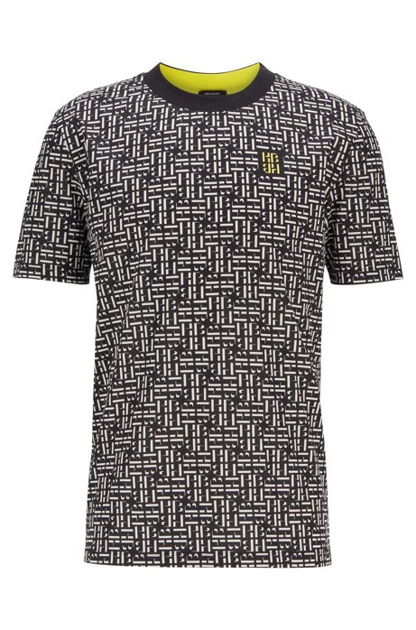T-Shirt aus merzerisierter Baumwolle mit Monogramm-Print, Schwarz