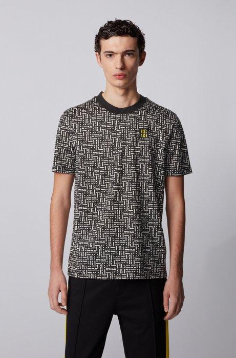 Relaxed-fit T-shirt van gemerceriseerde katoen met monogramprint, Zwart