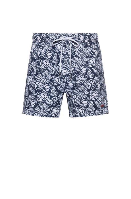 Drawstring-waist swim shorts with all-over print, Dark Blue