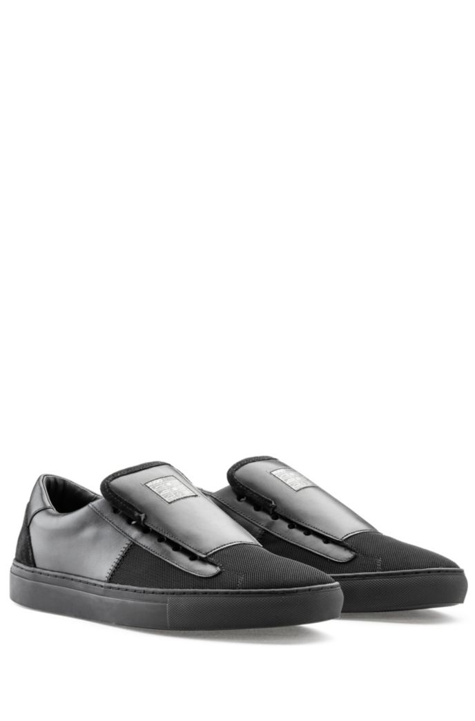 Slip-on shoes in smooth leather with tonal panels