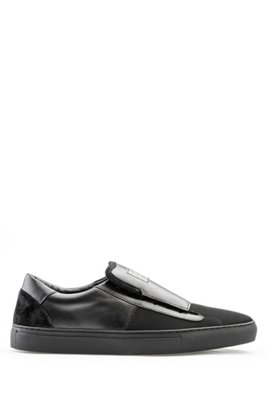 Slip-on shoes in smooth leather with tonal panels, ブラック