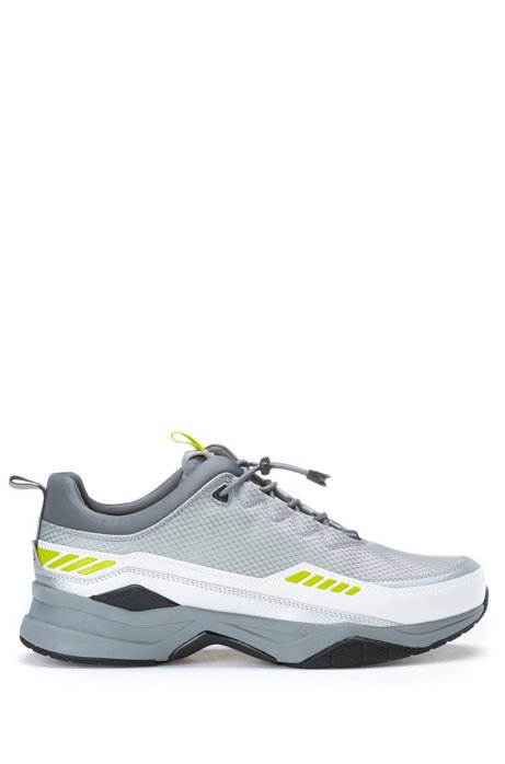 Running-inspired trainers with pop-colour accents, White