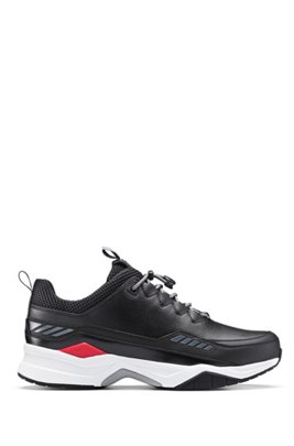 Running-inspired trainers with mixed-material uppers, Black