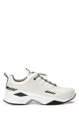 Hardloop-geïnspireerde sneakers met bovenzijde van gemengde materialen, Wit