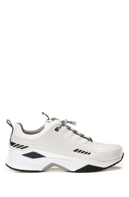 Running-inspired trainers with mixed-material uppers, White