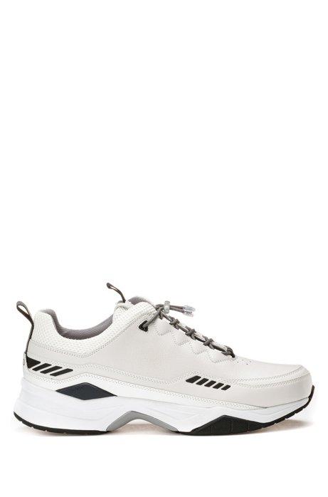 Sneakers im Laufschuh-Stil aus Material-Mix, Weiß