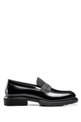 Smooth-leather loafers with chunky sole, Black