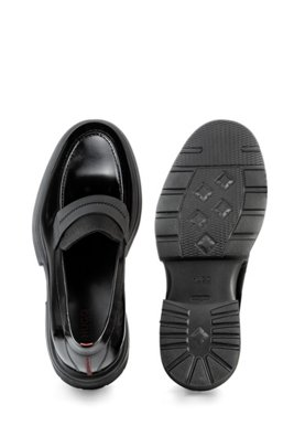 Smooth-leather loafers with chunky sole, ブラック