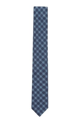 Italian-made checked tie in silk-blend jacquard, Dark Blue