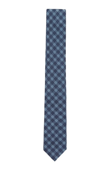 Cravatta a quadri realizzata in Italia in misto seta jacquard, Blu scuro
