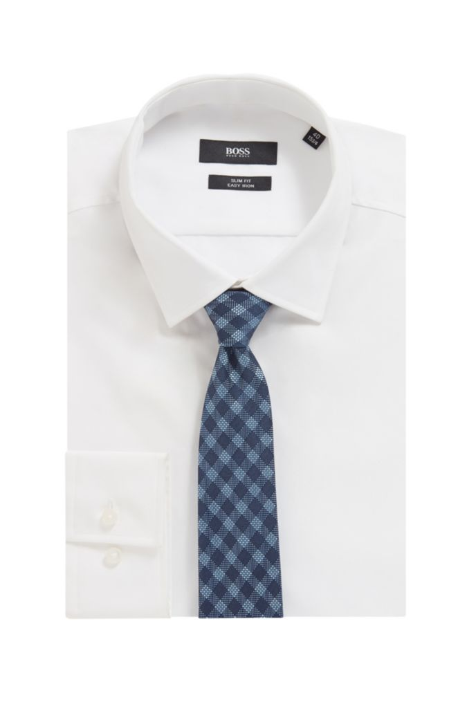Italian-made checked tie in silk-blend jacquard