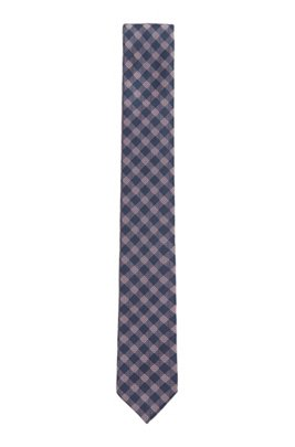 Italian-made checked tie in silk-blend jacquard, light pink