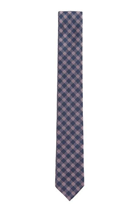 Cravatta a quadri realizzata in Italia in misto seta jacquard, Rosa chiaro