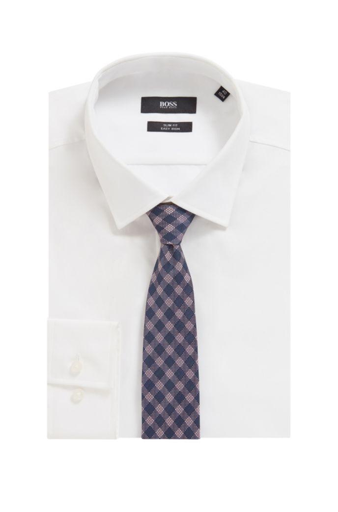 Cravatta a quadri realizzata in Italia in misto seta jacquard