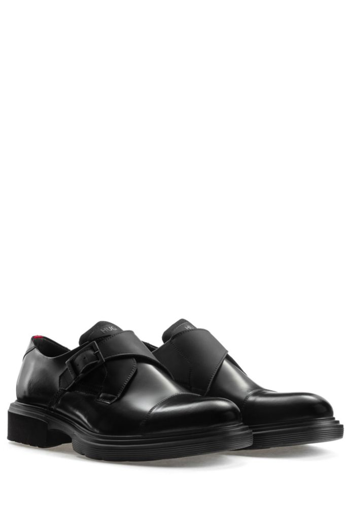 Smooth-leather monk shoes with lug sole