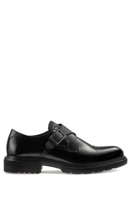 Smooth-leather monk shoes with lug sole, Black