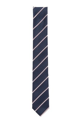 Italian-made striped tie in silk-blend jacquard, light pink