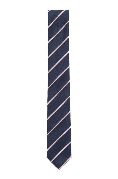 In Italië vervaardigde, gestreepte stropdas in een jacquard van een zijdemix, Lichtroze