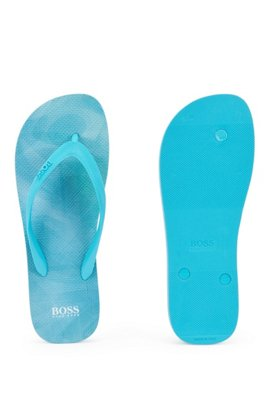 Flip-flops with logo-print straps, Light Blue