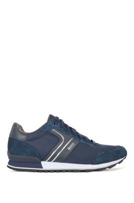 Running-style trainers with suede and mesh, Black