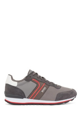 Running-style trainers with suede and mesh, Dark Grey