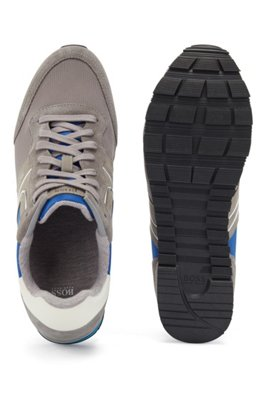 Running-style trainers with suede and mesh, Light Grey