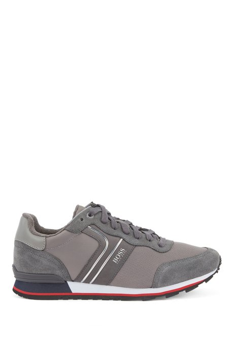 Running-style trainers with suede and mesh, Grey