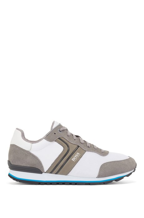 Running-style trainers with suede and mesh, White Patterned