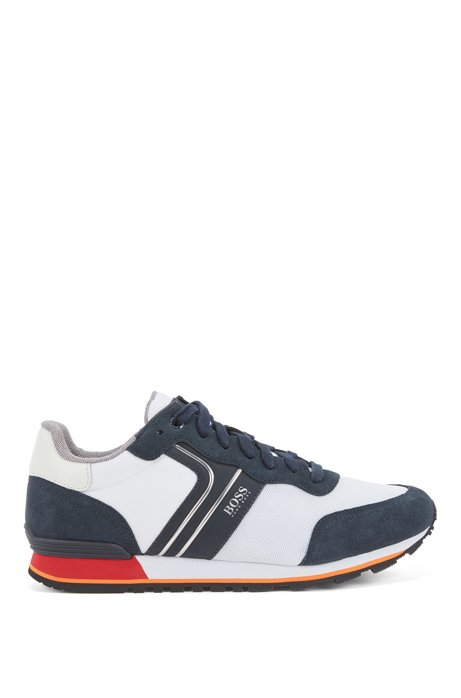 Running-style trainers with suede and mesh, Blue