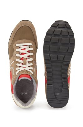 Running-style trainers with suede and mesh, Light Beige