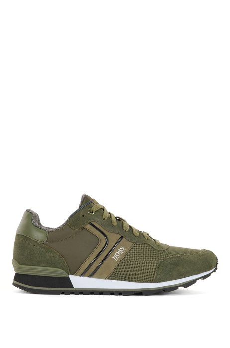 Running-style trainers with suede and mesh, Dark Green