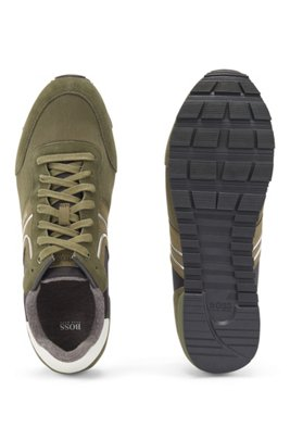 Running-style trainers with suede and mesh, Light Green