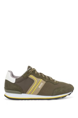 Running-style trainers with suede and mesh, Khaki