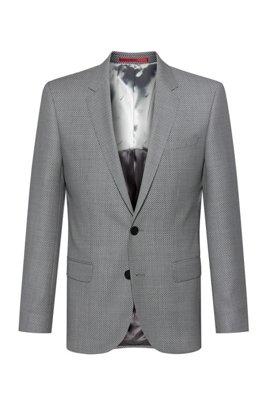 Slim-fit jacket in birdseye-patterned virgin wool, Light Grey