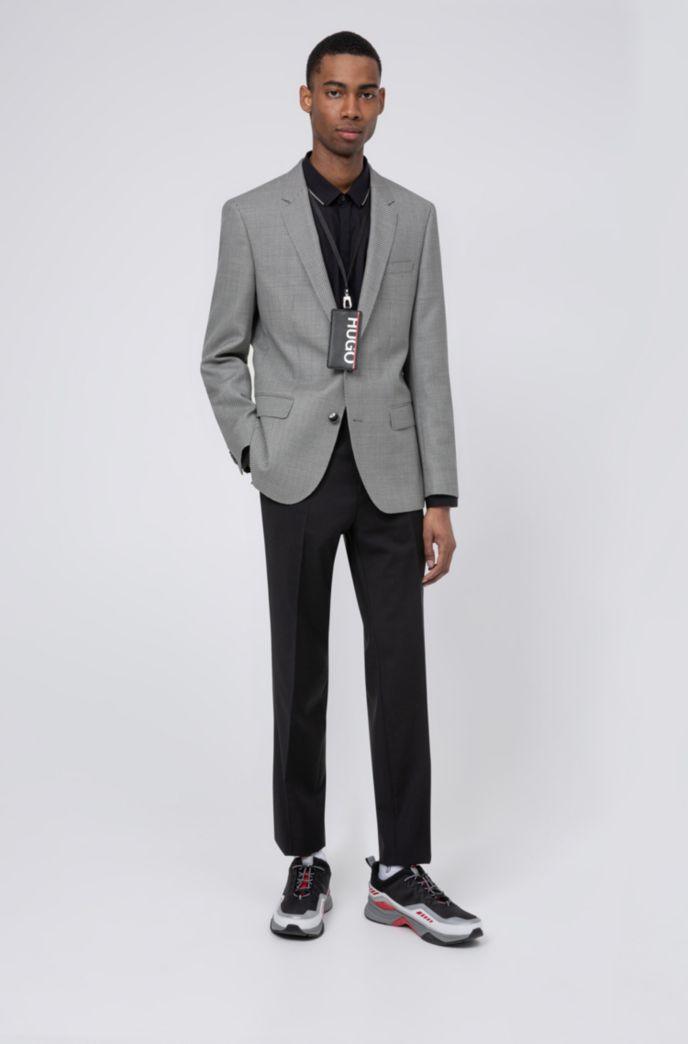 Slim-fit jacket in birdseye-patterned virgin wool