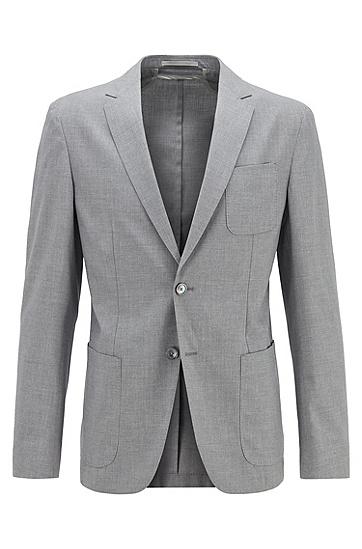 弹力面料贴袋修身西服夹克,  072_淡灰色