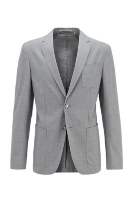 Slim-fit jacket in stretch fabric with patch pockets, Light Grey