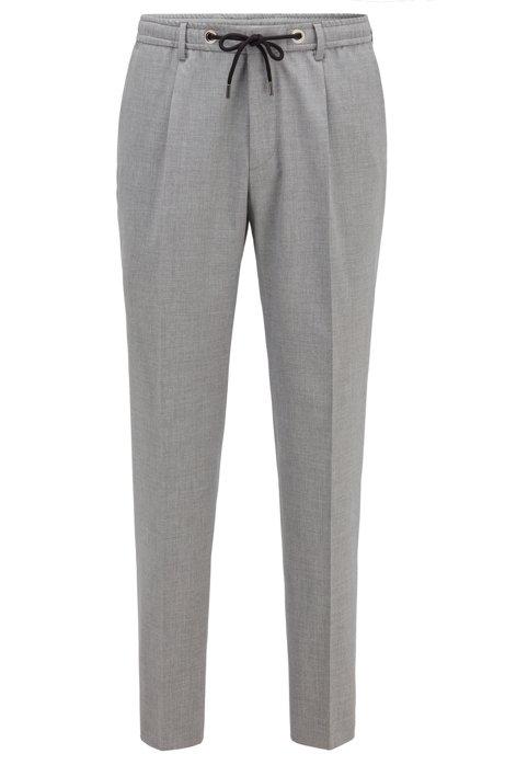 Melange slim-fit trousers with drawstring waist, Hellgrau