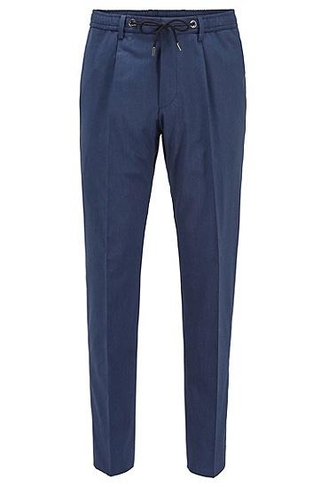 混色抽绳裤腰修身长裤,  407_暗蓝色