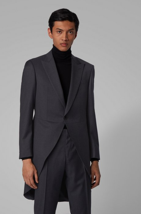 Slim-fit morning coat in virgin-wool serge, Dark Grey