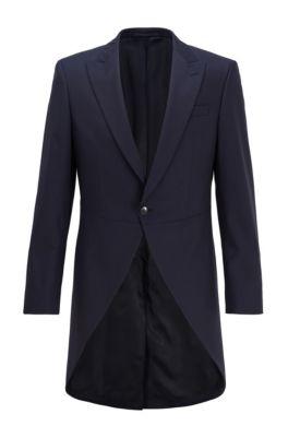 Slim-fit morning coat in virgin-wool serge, Dark Blue
