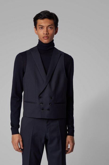 Slim-fit double-breasted waistcoat in virgin-wool serge, Dark Blue