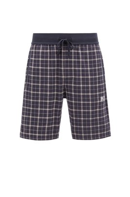 Checked pyjama shorts in interlock cotton with logo detail, Light Blue