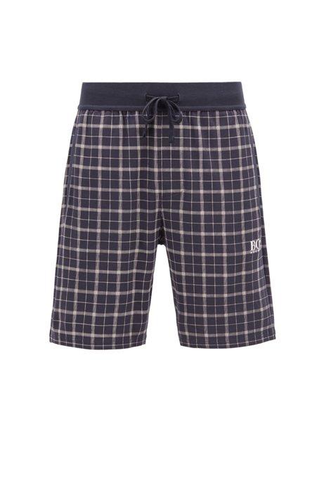 Karierte Pyjama-Shorts aus Interlock-Baumwolle mit Logo-Detail, Hellblau