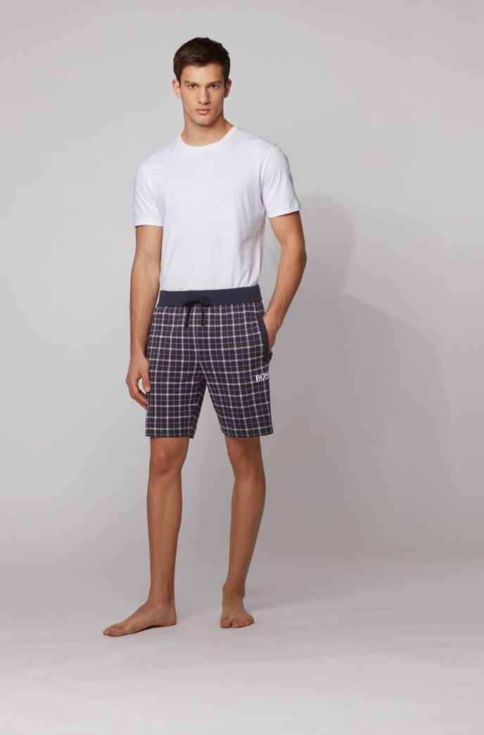 Checked pyjama shorts in interlock cotton with logo detail