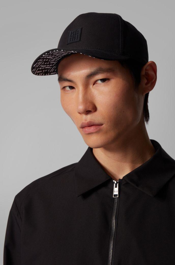Cappellino con stampa del monogramma in twill di misto cotone