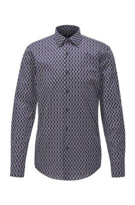 Slim-Fit Hemd aus Stretch-Baumwolle mit zweifarbigem Monogramm-Print, Dunkelblau