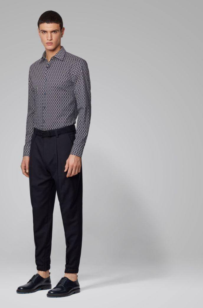 Slim-Fit Hemd aus Stretch-Baumwolle mit zweifarbigem Monogramm-Print