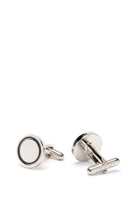 Round cufflinks in polished brass with enamel inset, Silver